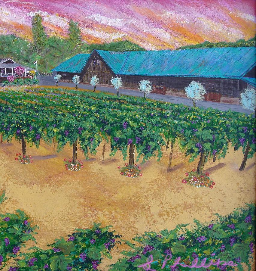 Landscapes Painting - Vineyard Sunset by Scott Phillips