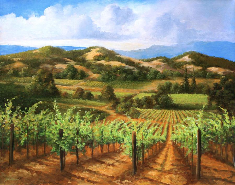 Vineyards Painting - Vineyards In The Valley by Gail Salitui