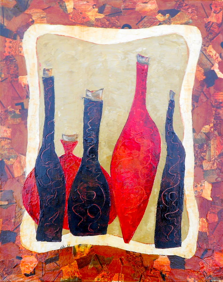 Bottles Painting - Vino 1 by Phiddy Webb