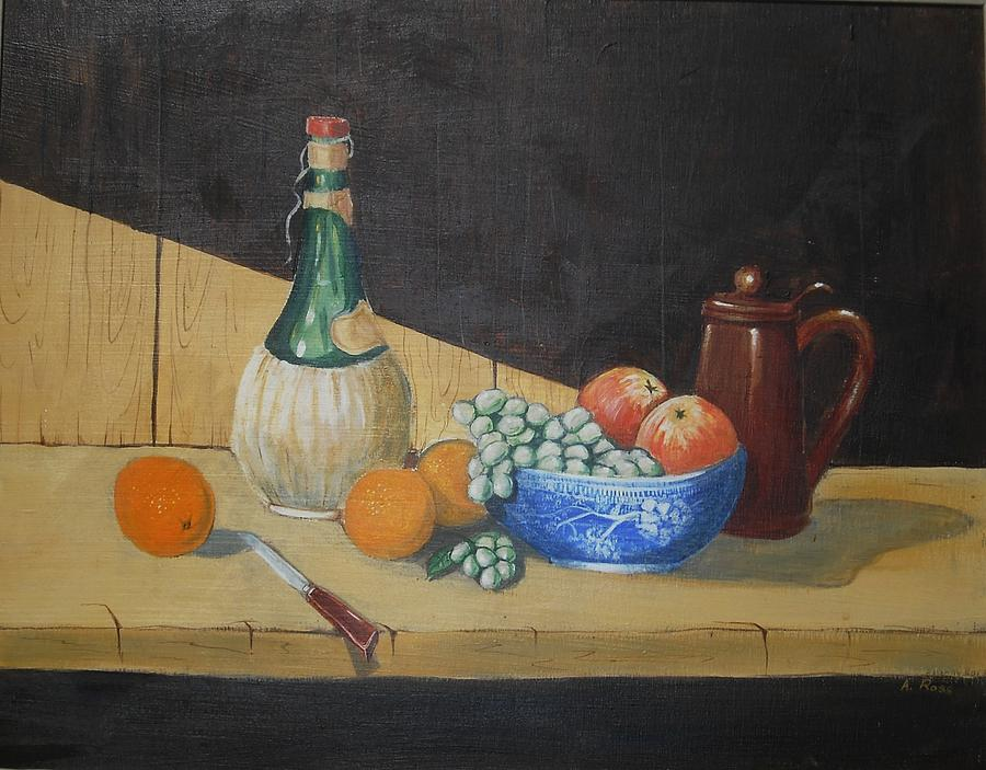 Still Life Painting - Vino And Fruit by Anthony Ross