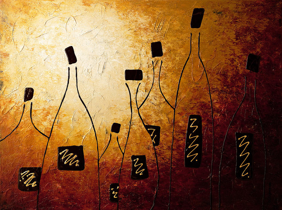 White Wine Painting - Vins De France by Carmen Guedez
