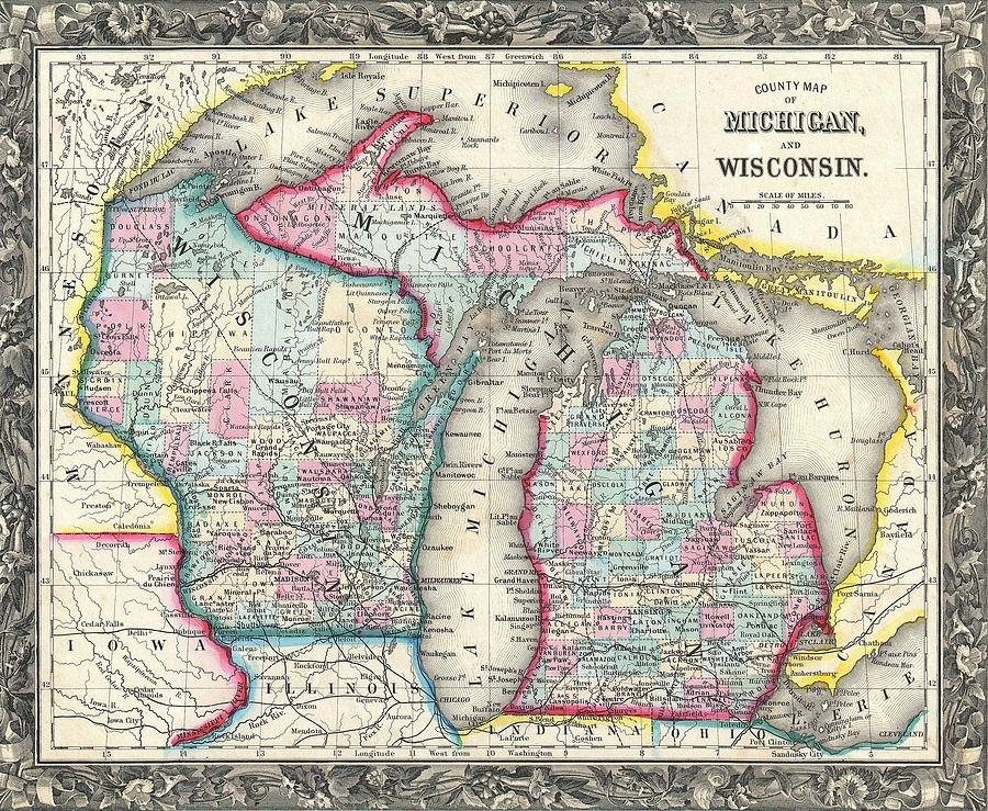 Vintage 1860 Michigan Map Mixed Media By Dan Sproul