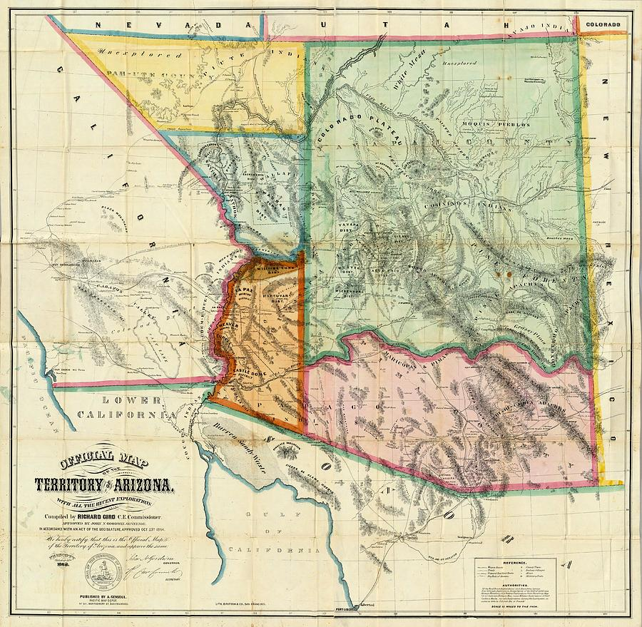 Map Of Old Arizona.Vintage 1865 Arizona Territory Map