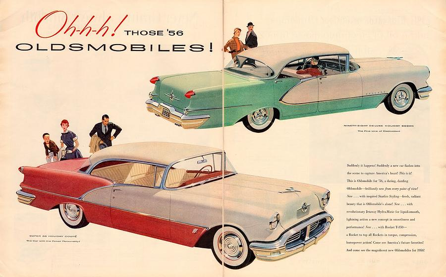 Vintage 1956 Oldsmobile Car Advert Digital Art by Georgia Fowler