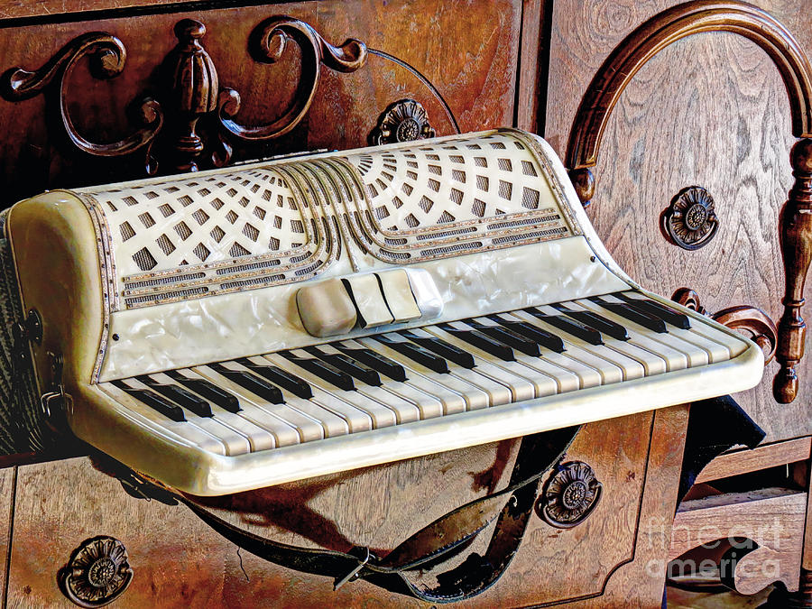 Altered Photograph - Vintage Accordion by Chris Anderson
