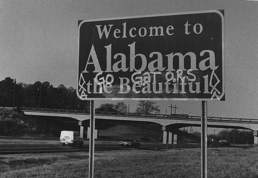 Signs Photograph - Vintage Alabama Florida Football Sign by Retro Images Archive