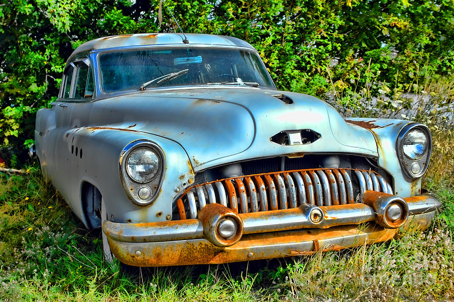 Car Photograph - Vintage American Car In Yard by Olivier Le Queinec