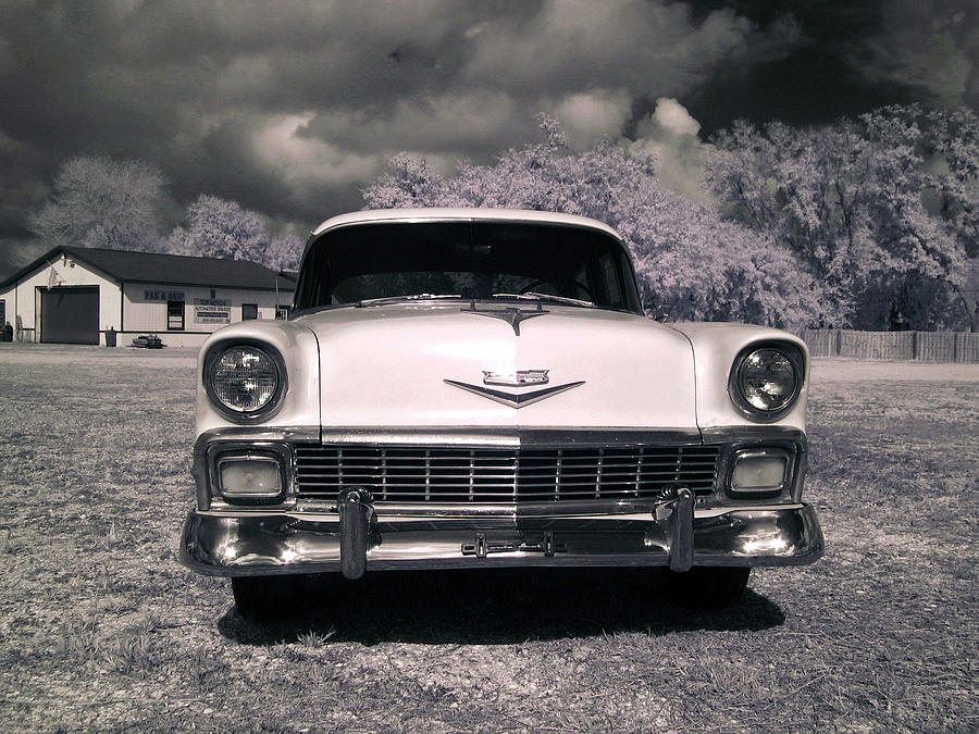 Vintage American Chevrolet Bel Air Car Front Near Infrared Photo ...