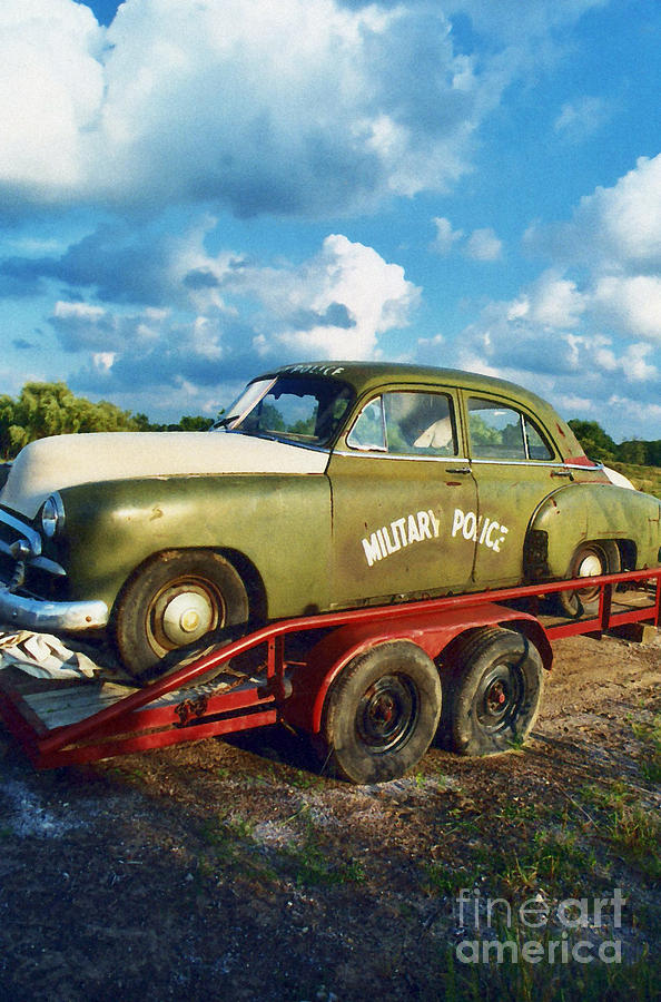 Vintage Police Cars Photograph - Vintage American Military Police Car by Kathy Fornal