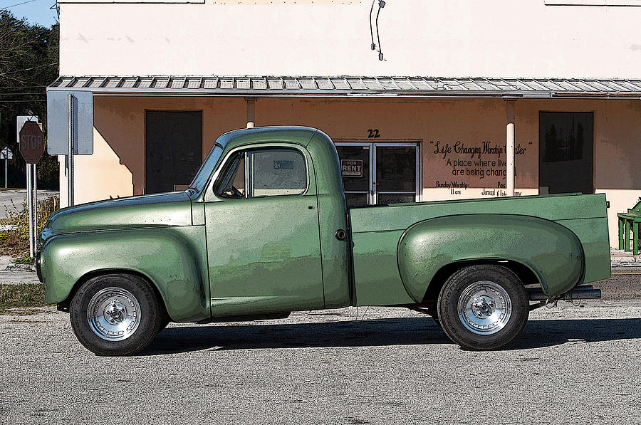 Vintage American Restored Green Pickup Truck Photograph By Sally Rockefeller