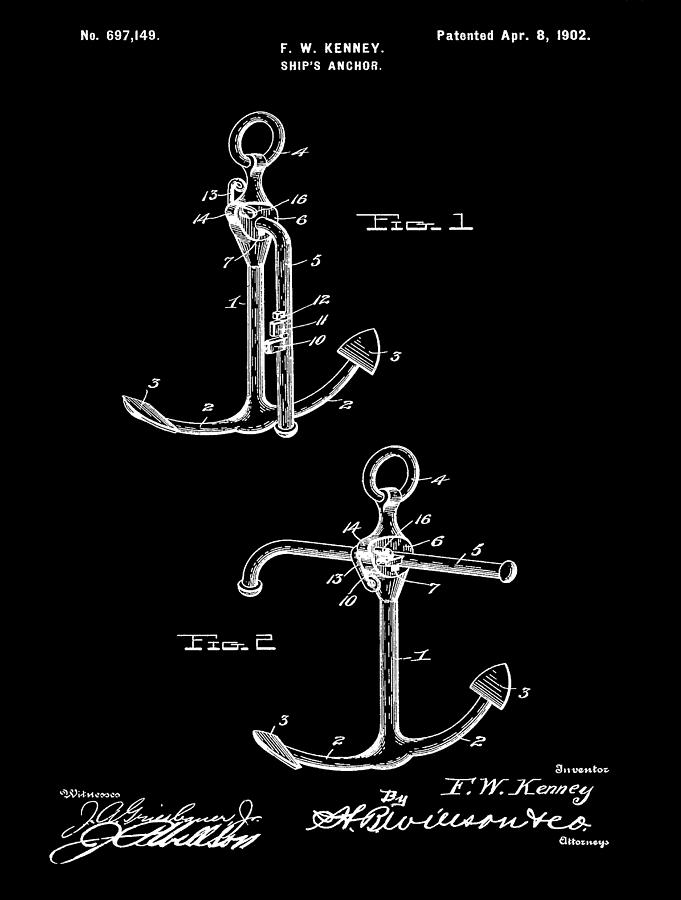 Vintage Anchor Patent Mixed Media
