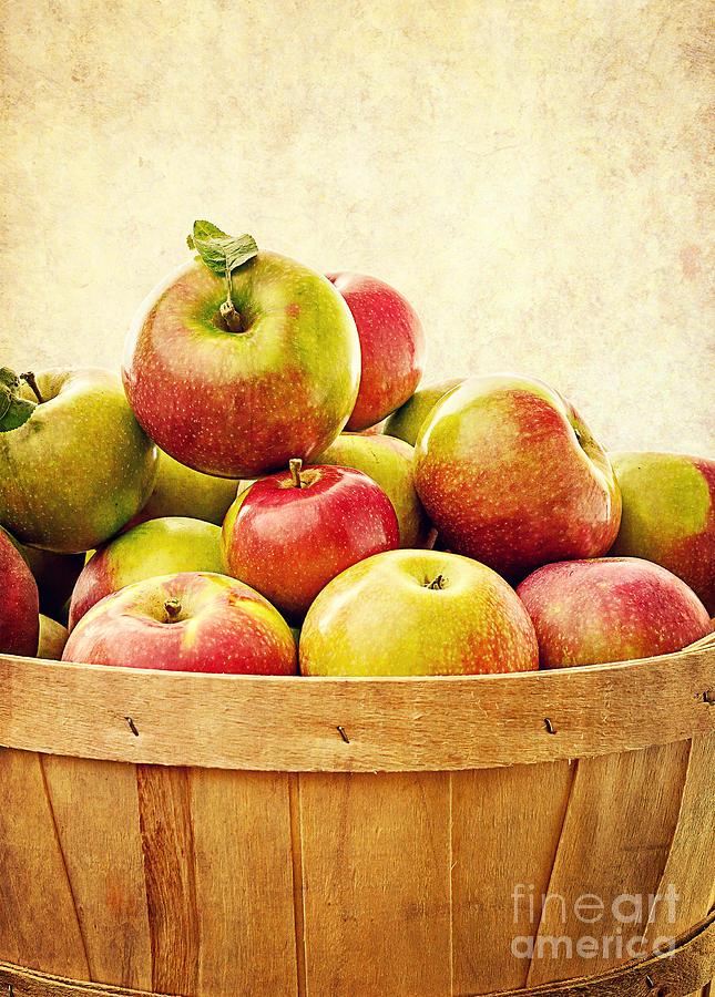 Fruit Photograph - Vintage Apple Basket by Edward Fielding