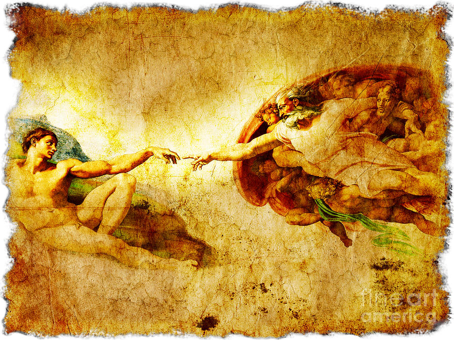 The Creation Of Adam Painting - Vintage Art - The Creation Of Adam by Stefano Senise