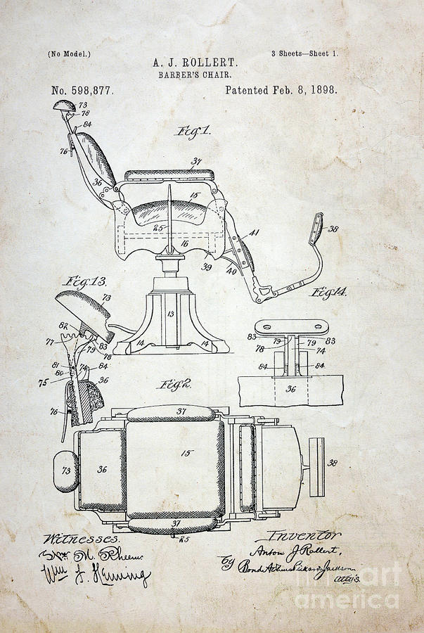 Vintage Barber Chair Patent Photograph By Paul Ward