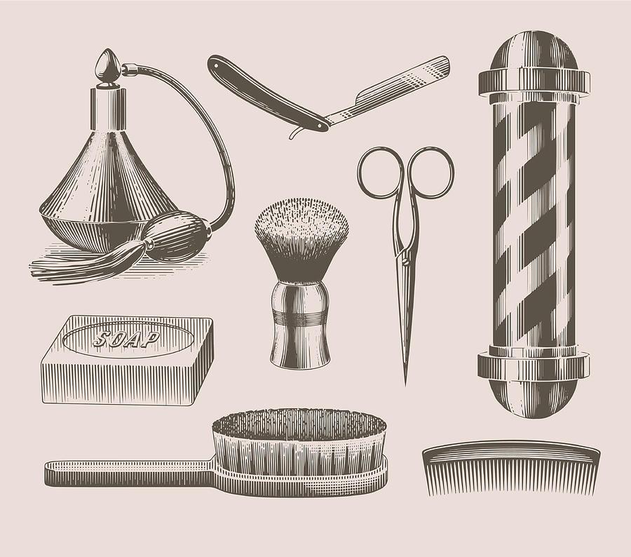 Vintage Barbershop Objects Digital Art by Darumo
