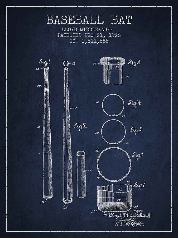 Baseball Bat Digital Art - Vintage Baseball Bat Patent from 1926 by Aged Pixel