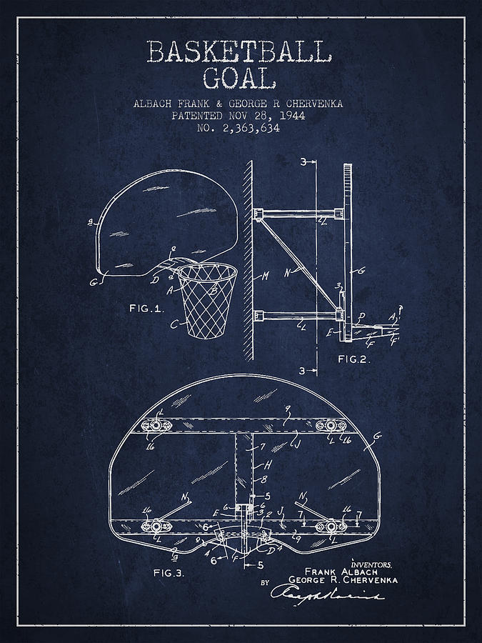 Hoop Patent Drawing - Vintage Basketball Goal Patent From 1944 by Aged Pixel