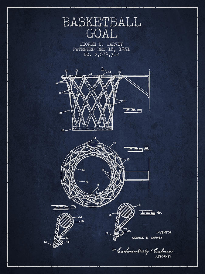 Hoop Patent Drawing - Vintage Basketball Goal Patent From 1951 by Aged Pixel