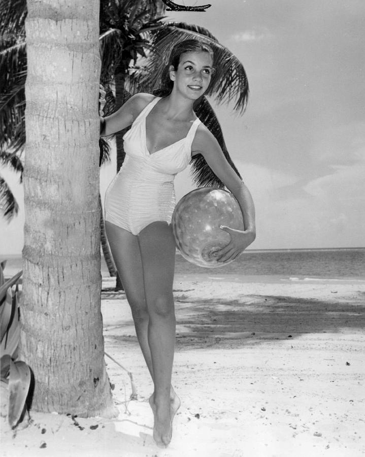 palm trees tumblr vintage. Retro Photograph - Vintage Bathing Suit Girl Leaning Against Palm Tree By Images Archive Trees Tumblr
