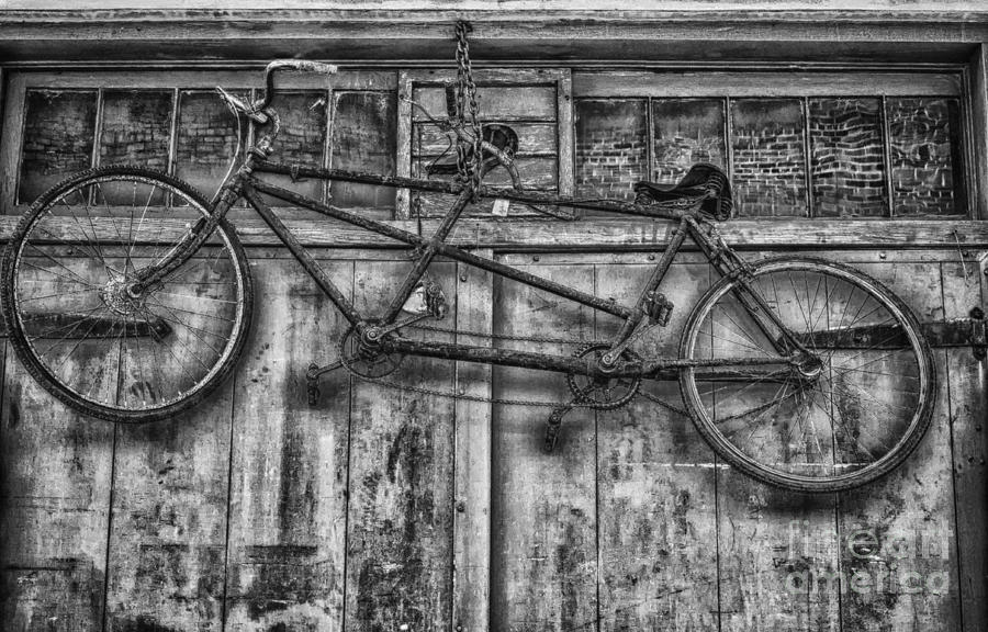 Bicycle photograph vintage bicycle built for two in black and white by kathleen k parker