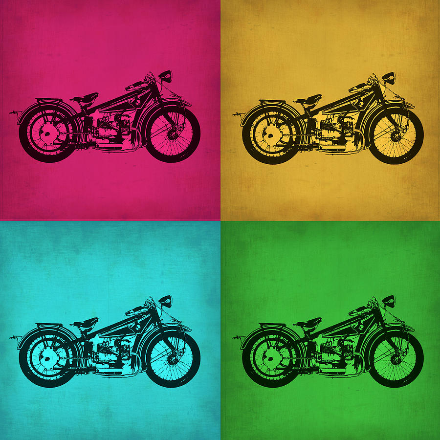 vintage bike pop art 1 painting by naxart studio. Black Bedroom Furniture Sets. Home Design Ideas