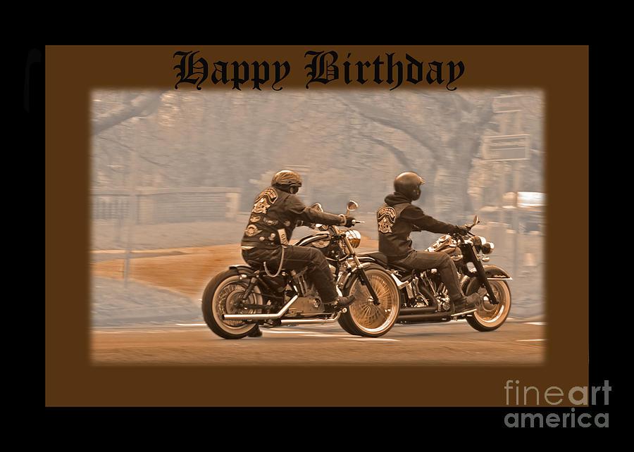 Vintage Biker Birthday Card Photograph By Michelle Orai