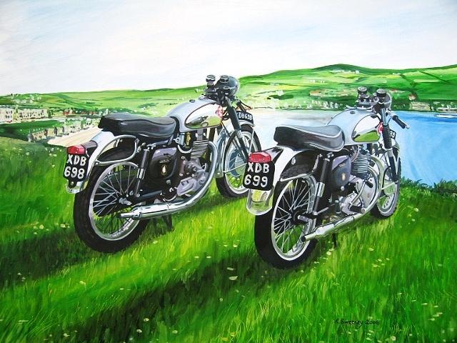 Vintage Bikes Painting by Rob Sweeney