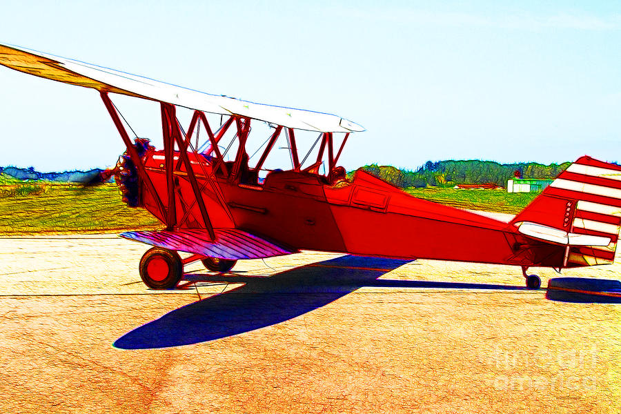 Transportation Photograph - Vintage Biplane - 7d15525 - Color Sketch Style by Wingsdomain Art and Photography