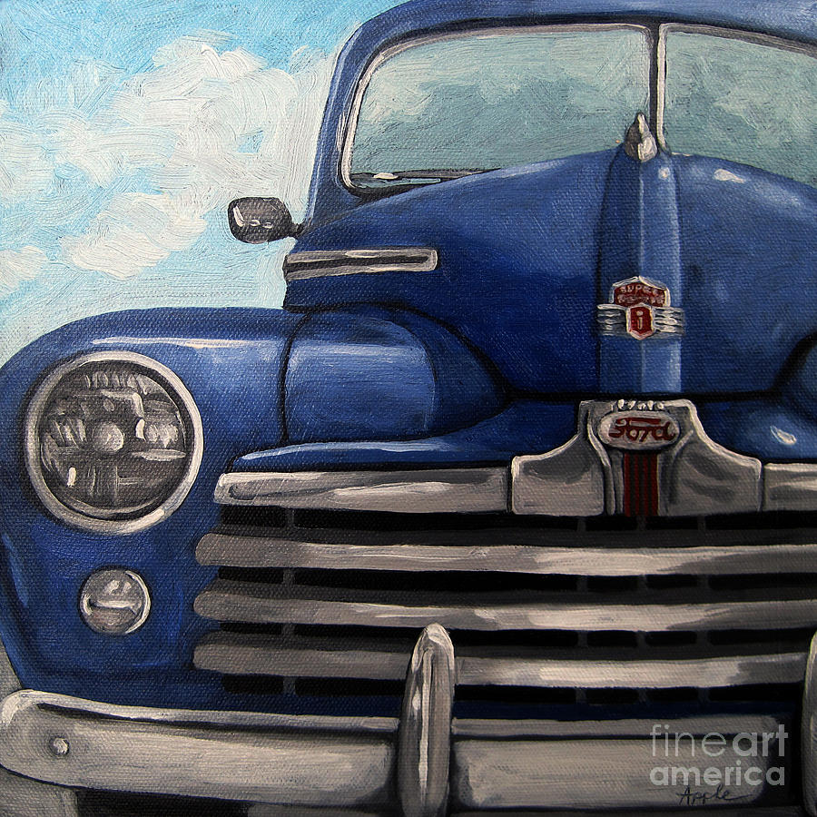 Car Painting - Vintage Blue Ford Car Painting by Linda Apple