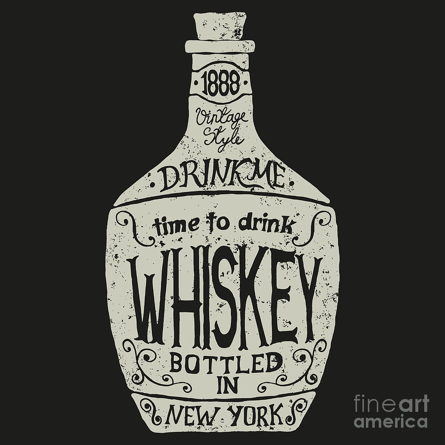 Typography Digital Art - Vintage  Bottle Of Whiskey With by Dimonika