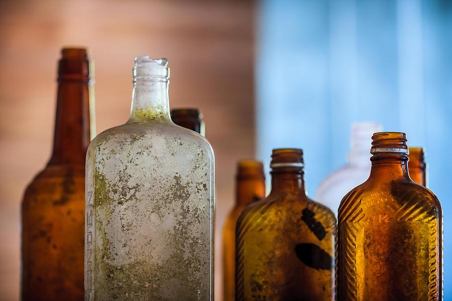 Abandoned Photograph - Vintage Bottles by Adam Romanowicz