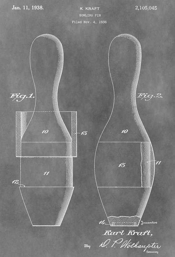 Vintage Bowling Pins Patent Drawing