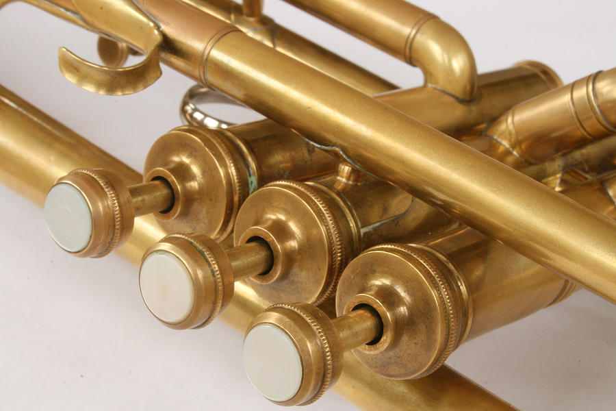 Vintage Brass Trumpet Valves And Tubes Photograph by Robert Hamm