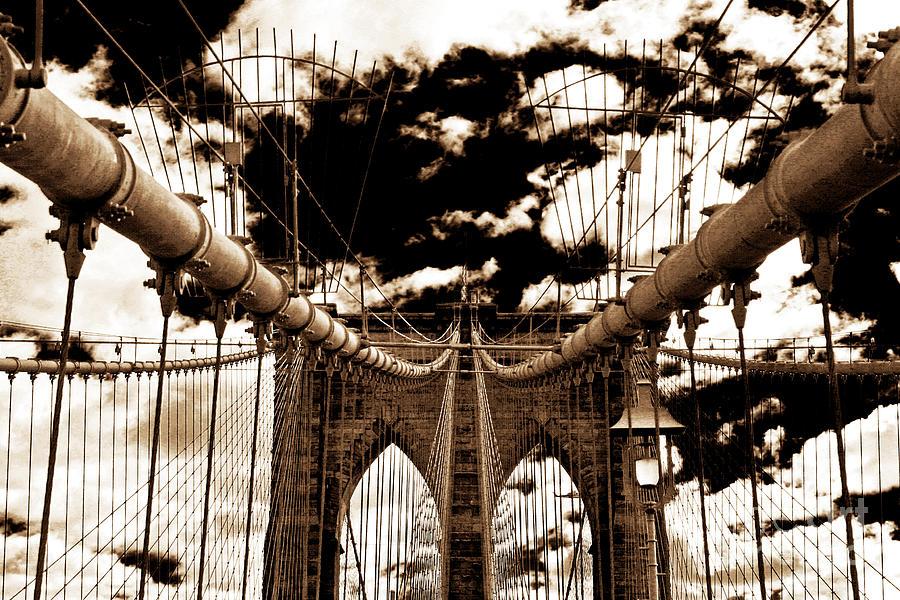 New York City Photograph - Vintage Brooklyn Bridge by John Rizzuto