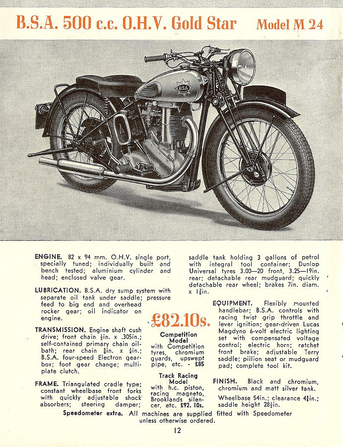 Ad Photograph - Vintage Bsa Model M 24 Ad by Georgia Fowler