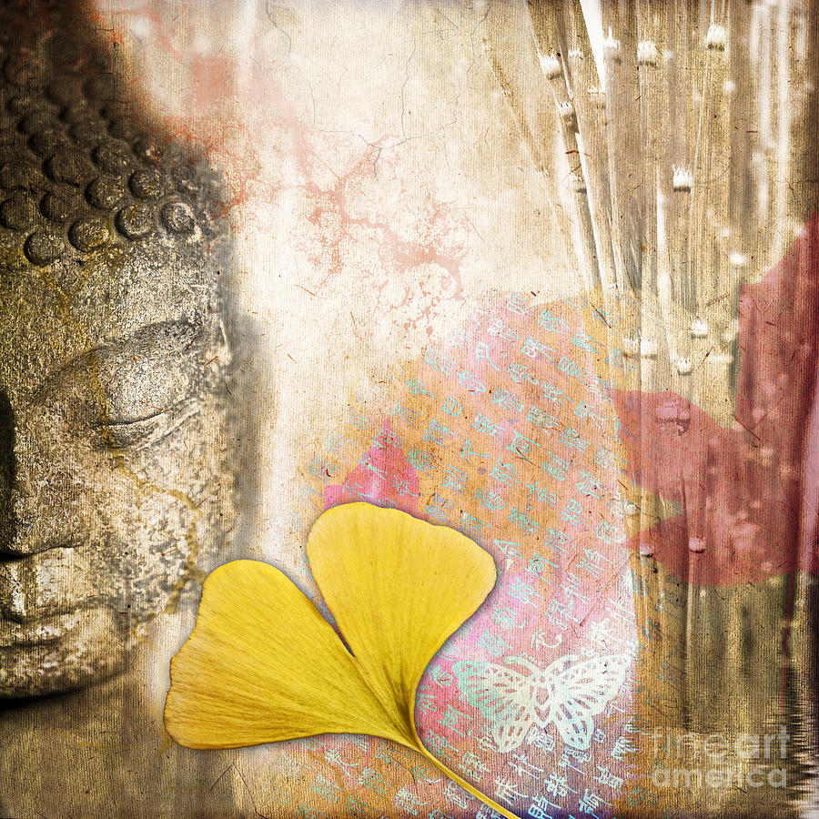 Buddha Photograph - Vintage Buddha And Ginkgo by Delphimages Photo Creations