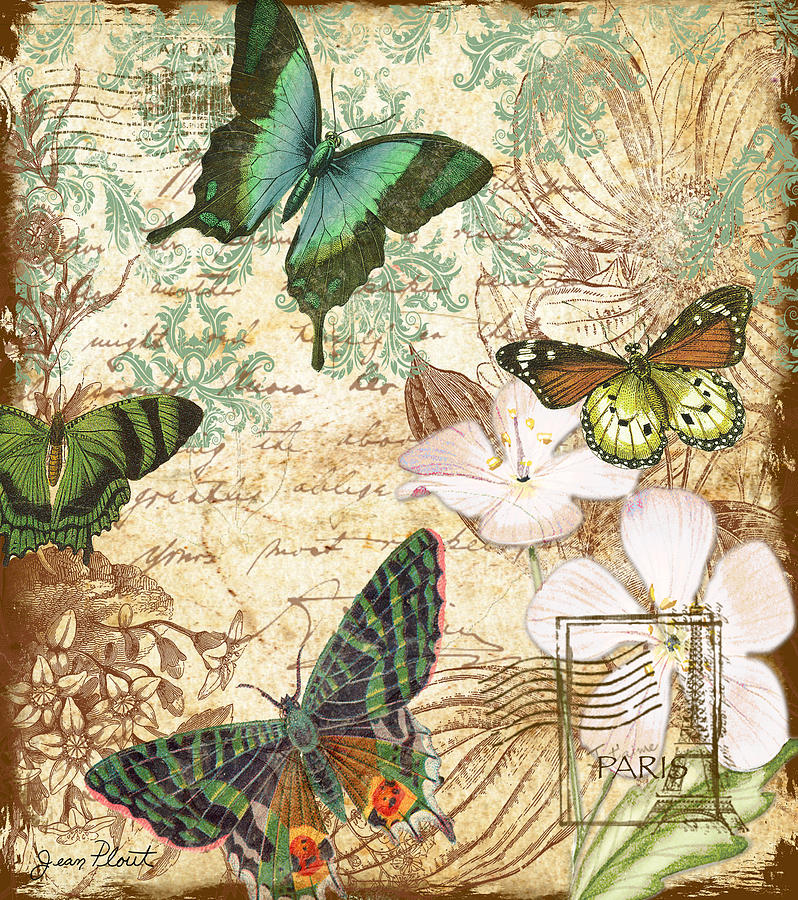 Vintage Butterfly Kisses Digital Art By Jean Plout