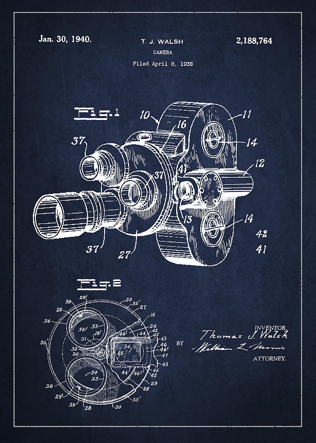 Camera Drawing - Vintage Camera Patent Drawing From 1938 by Aged Pixel