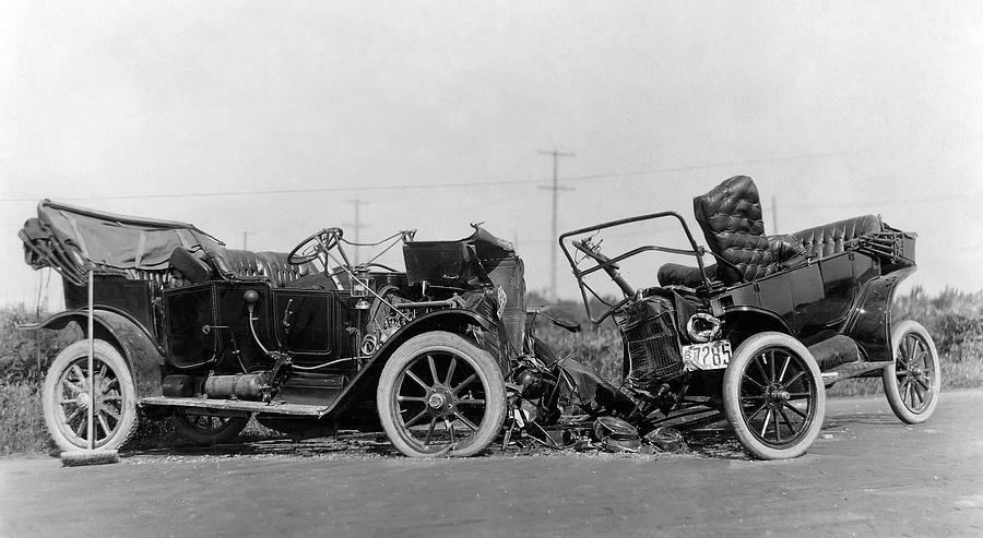 Vintage Car Crash 1914 Photograph By Daniel Hagerman