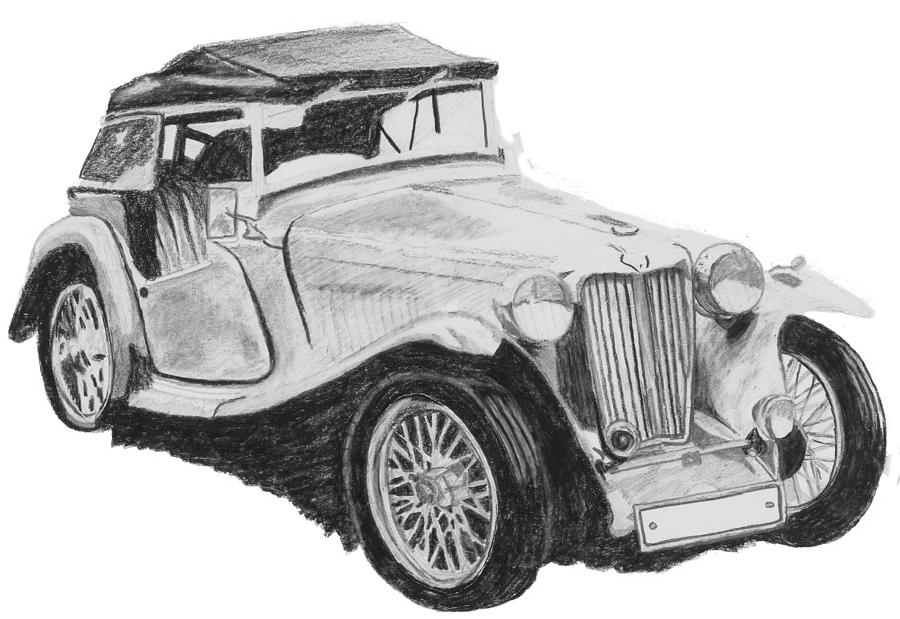 Vintage Car Drawing Drawing By Catherine Roberts