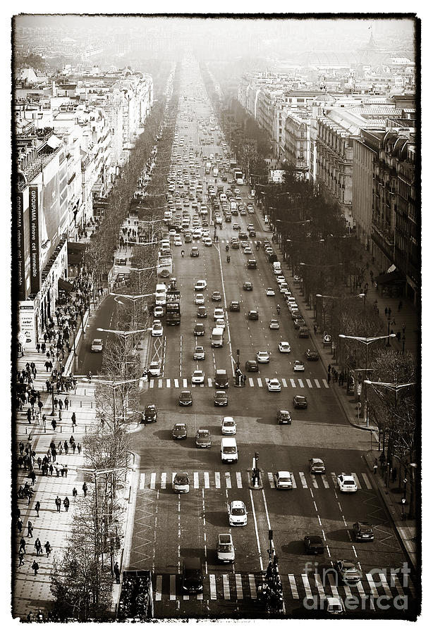 Boulevard Photograph - Vintage Champs Elysees by John Rizzuto