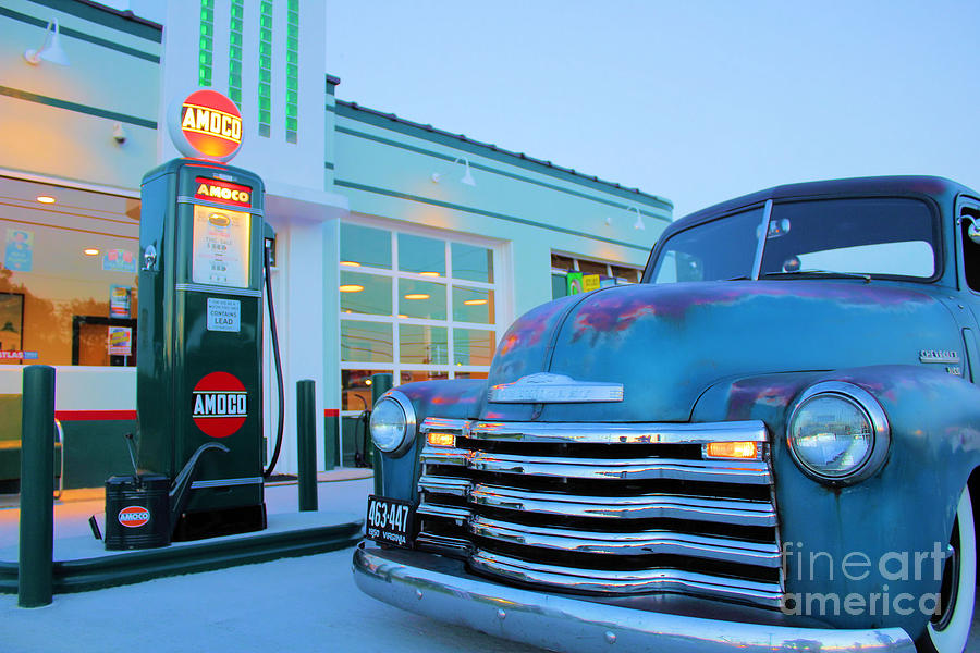 Antique Cars Painting - Vintage Chevrolet At The Gas Station by Todd Bandy