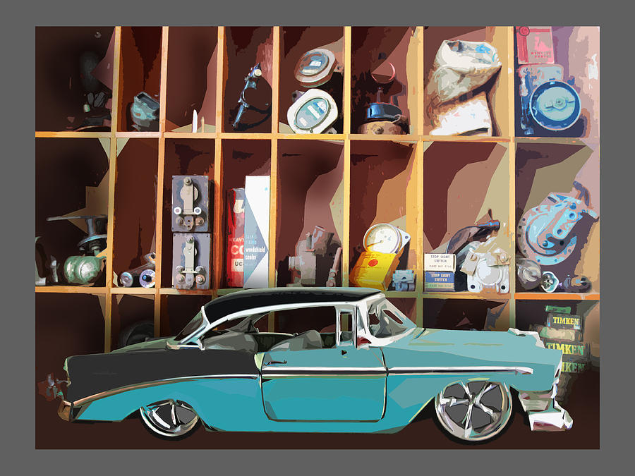 Vintage Chevy BelAir with Retro Auto Parts by John Fish