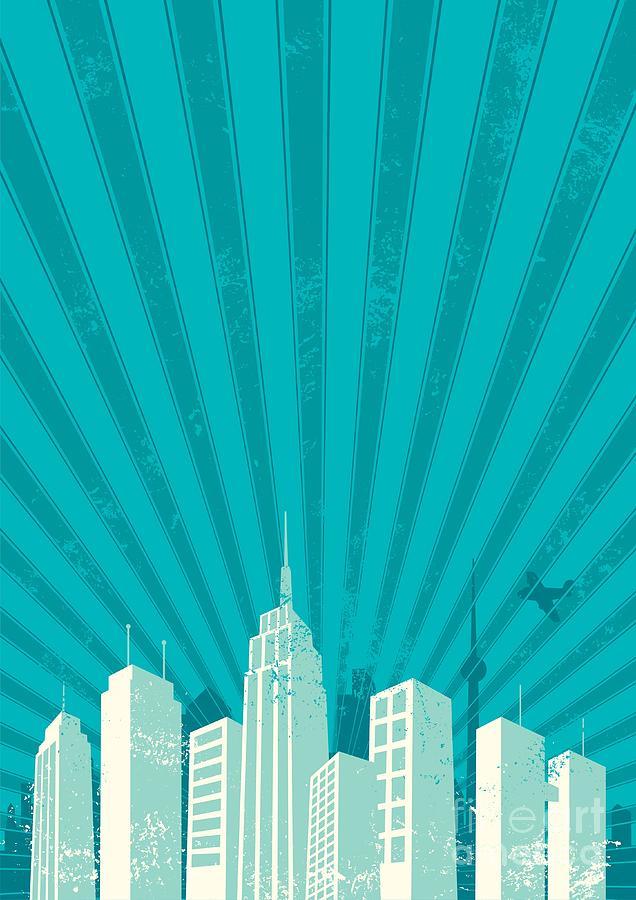 City Digital Art - Vintage City Background. A4 Proportions by Malchev
