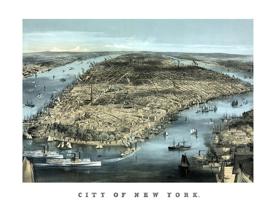 New York Painting - Vintage City Of New York by War Is Hell Store