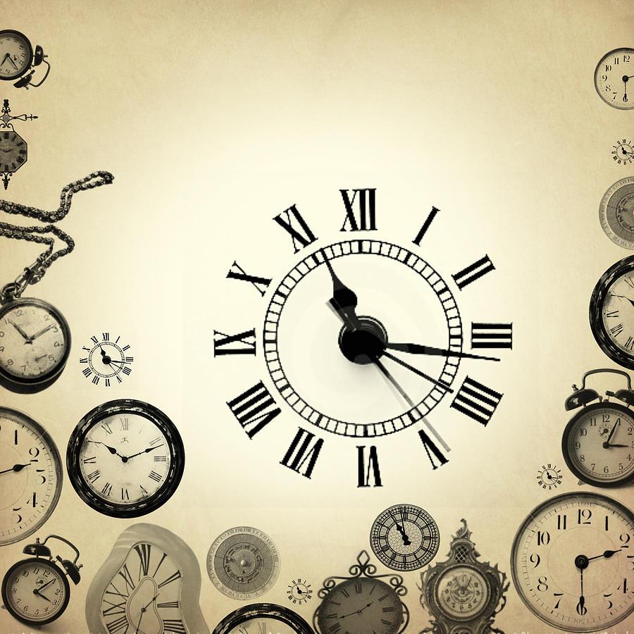 Vintage Clocks Painting By Mark Ashkenazi