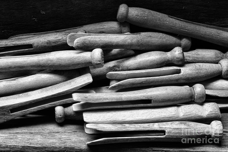 Paul Ward Photograph - Vintage Clothespins by Paul Ward