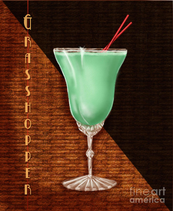 Vintage Mixed Media - Vintage Cocktails-grasshopper by Shari Warren