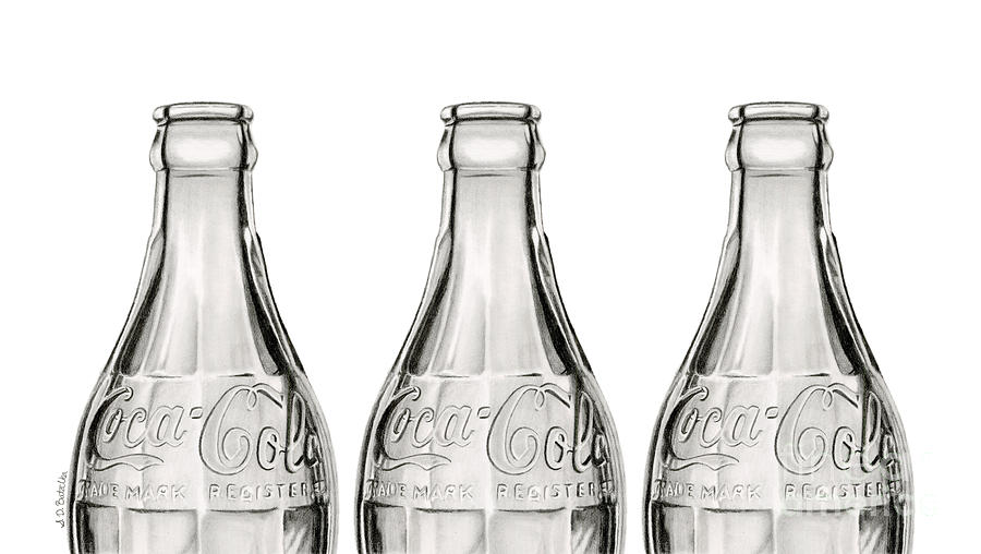 Vintage Coke Bottle Trio Drawing By Sarah Batalka