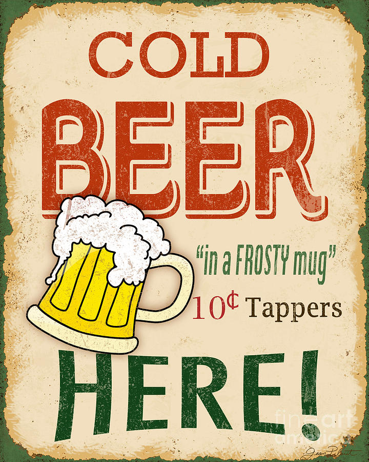 Vintage Cold Beer Sign Digital Art By Jean Plout